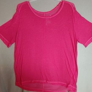 Terra & Sky Size 1X Pink Shear Scoop Neck Tee